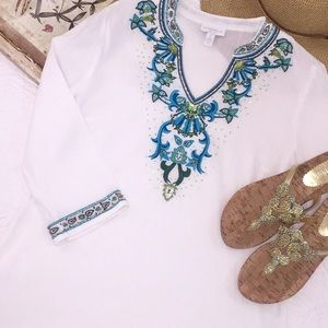 Charter Club embellished tunic top